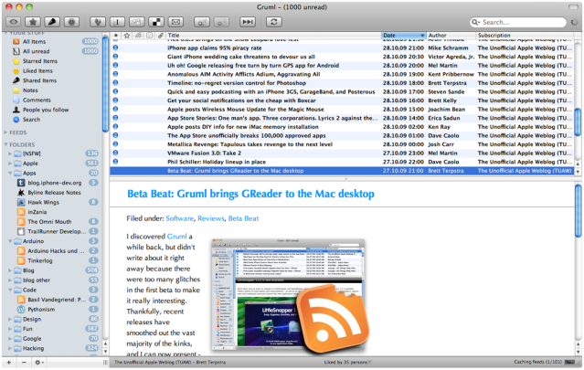 Gruml RSS Reader for Mac OS X