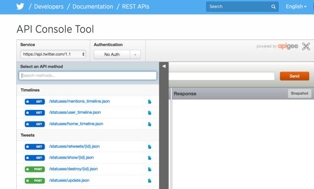 Twitter API Console